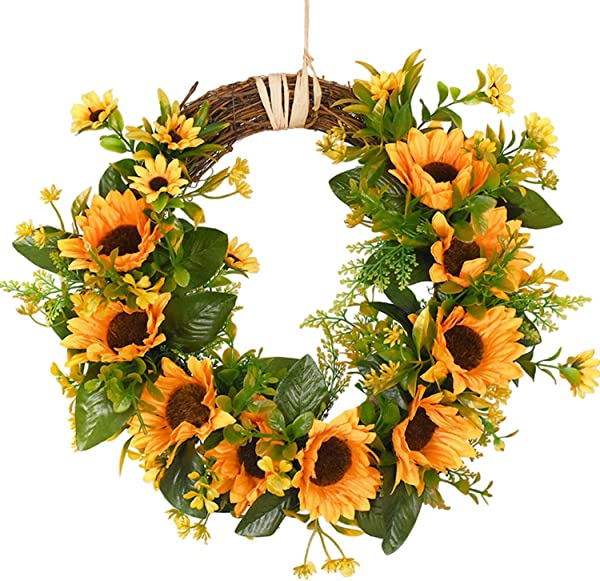 Artificial Sunflower Summer Wreath 13 8 Inch Flower Door Wreath With Yellow Sunflower And Green Leaves For Front Door Indoor Or Outdoor Wall D Cor Wedding Home Spring Decoration