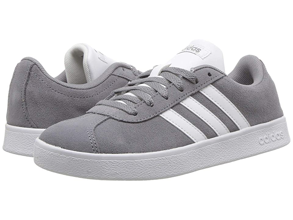 adidas Kids VL Court 2 (Little Kid/Big Kid) (Grey/White/Grey Four) Kids Shoes