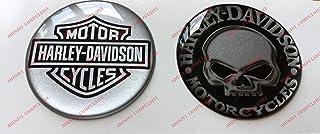 Adhesivos resinados con el emblema/logotipo de Harley Davidson, logotipo clásico con calavera, par de pegatinas resinadas con efecto 3D.Para depósito o casco.