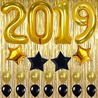 2019 Balloons Gold Decorations Banner – Large, Pack of 23   Black Gold Star Mylar Foil and Latex Ballon, Metallic Gold Fringe Curtain   Graduations Party Supplies, New Years Eve Party Supplies 2019