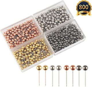 SUBANG 800 Pieces Map Tacks 1/8-Inch Retro Metallic Color Beads Head Marking Push Pins, 4 Colors