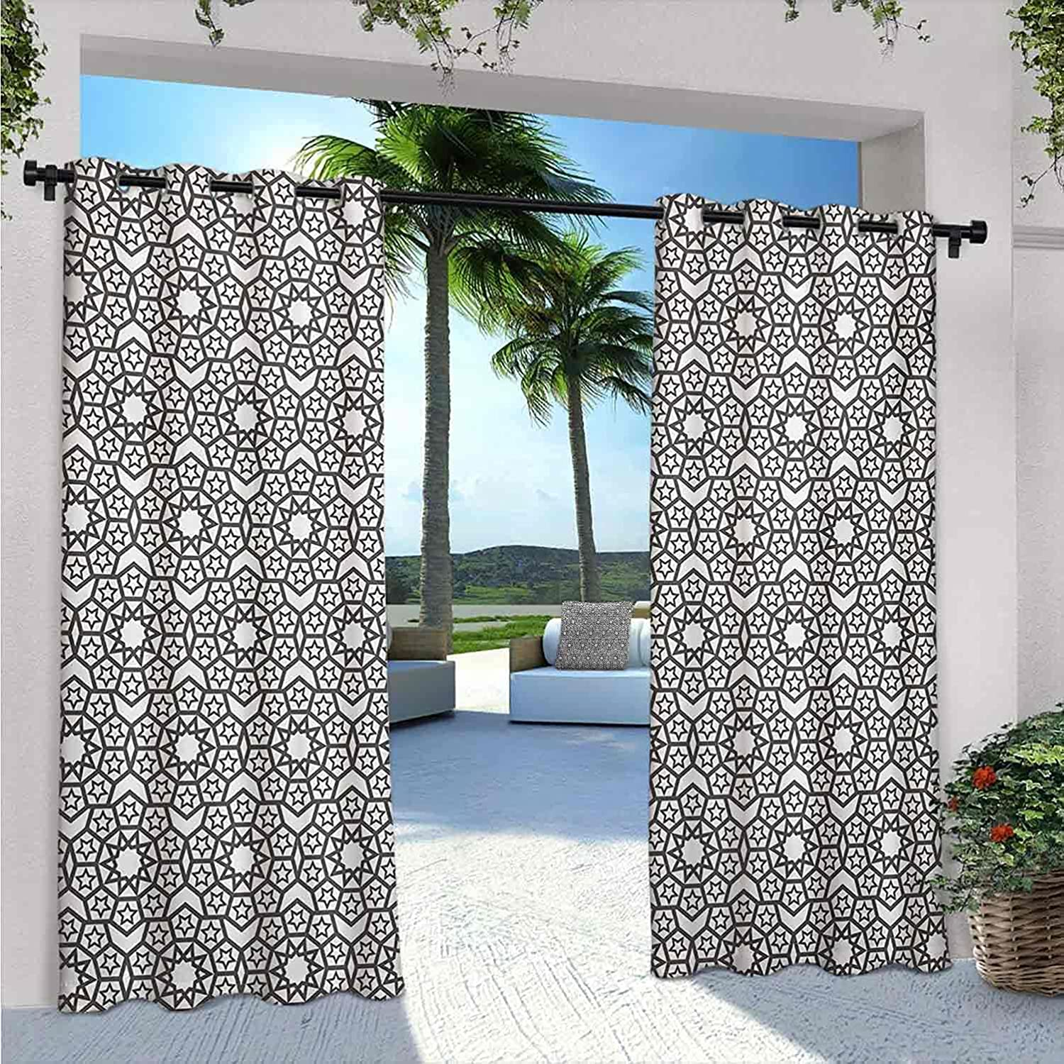 Grey and White Max 90% OFF Waterproof Gazebo OFFicial store Arabesque Curtains Oriental Fo
