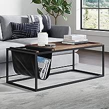 Nathan James 31401 Felix Modern Coffee Table Wood Tray Top, Vegan Leather Storage, and Industrial Matte Steel Rectangle Metal Frame, Nutmeg/Black