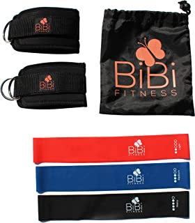 BIBI Fitness Cable Machine Ankle Straps Set with Mini Rubber Loop Bands for Legs and Glutes