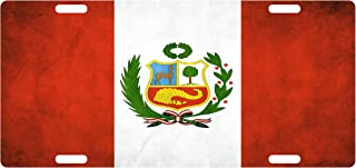 Fast Service Designs Peru Flag Custom License Plate Peruvian Emblem Dirty Version