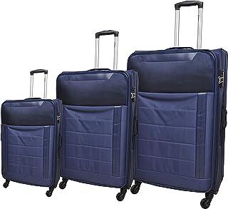 LUGGAGE TRACK Soft TROLLY - 4W - TSA Lock - 3PC SET - NAVY