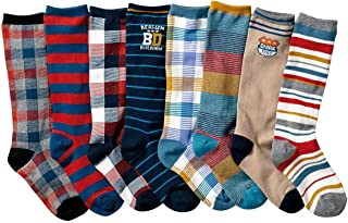 Boys' Colorful Stripe Stocking Youth Pattern Knee High Cotton Socks 8 Pairs