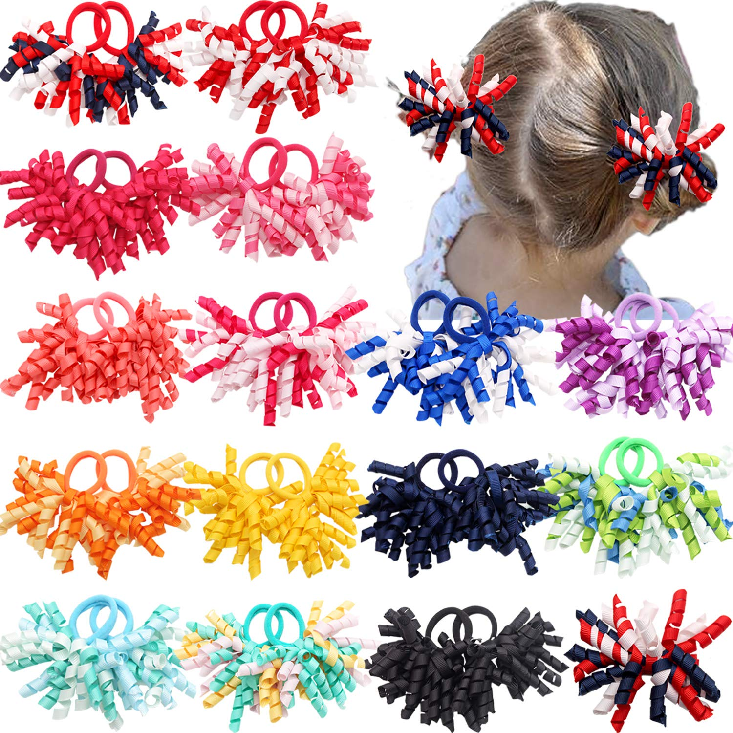 30 PCS 15 Pairs Boutique Solid Color Curly Korker Hair Bows Seamless pigtails Holders Elastic Hair Ties for Baby Girls Toddlers Kids