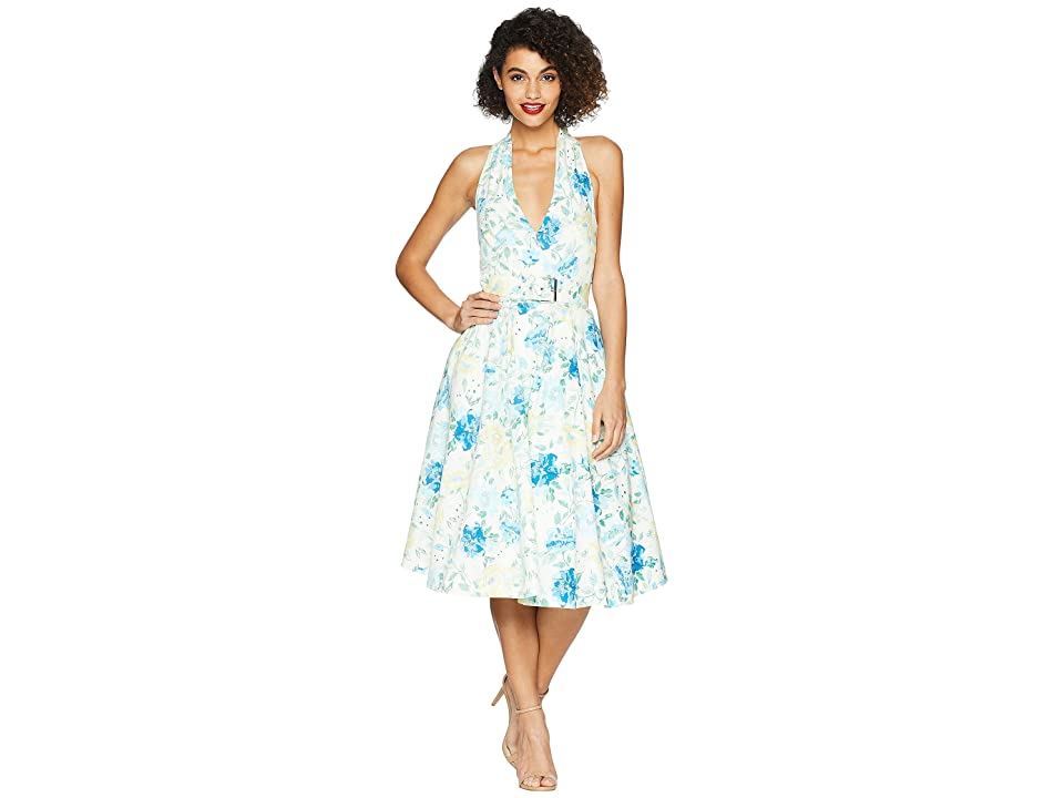 1950s Swing Dresses   50s Swing Dress Unique Vintage Halter Tarrytown Hostess Dress IvoryFloral Print Womens Dress $148.00 AT vintagedancer.com