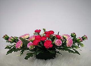 roselynexpress Composition de Fleurs Artificielles Lesté Ciment pour Une Parfaite Tenue à L' extérieur. Réalisé par Nos So...