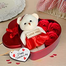 TIED RIBBONS Valentine Gifts for Girlfriend Boyfriend Husband Wife Him Her - Valentines Special ( Heart Shaped Box with Teddy and Roses )