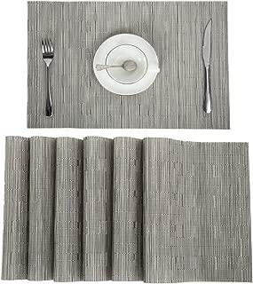 Pauwer Woven Vinyl Placemats Set of 6 Heat Resistant Non-Slip Placemat for Kitchen Table Wipe Clean Place Mats Washable (6pcs Placemats, Silver Grey)
