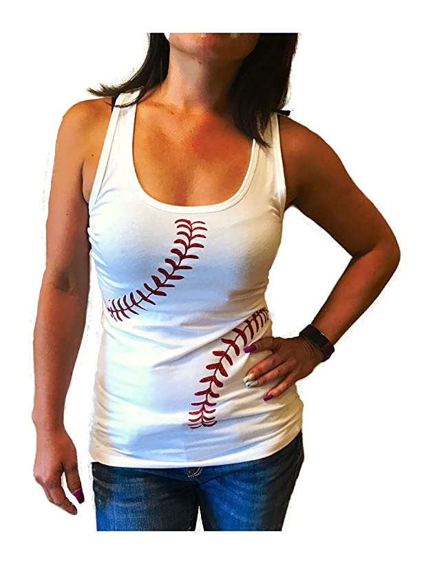 Devious Apparel Baseball Softball Red Glitter Stitches Team Mom Tee Printed Women's Tank Top