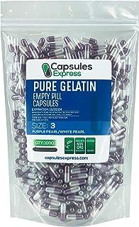 Capsules Express- Size 3 Purple Pearl and White Pearl Empty Gelatin Capsules- Kosher - Pure Gelatin Pill Capsule - DIY Pow...