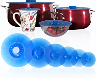 Silicone Lids Extra Large Blue Set of 6 Sturdy Suction Seal Covers. Universal fit for Pots, Fry Pans, Cups and Bowls 5