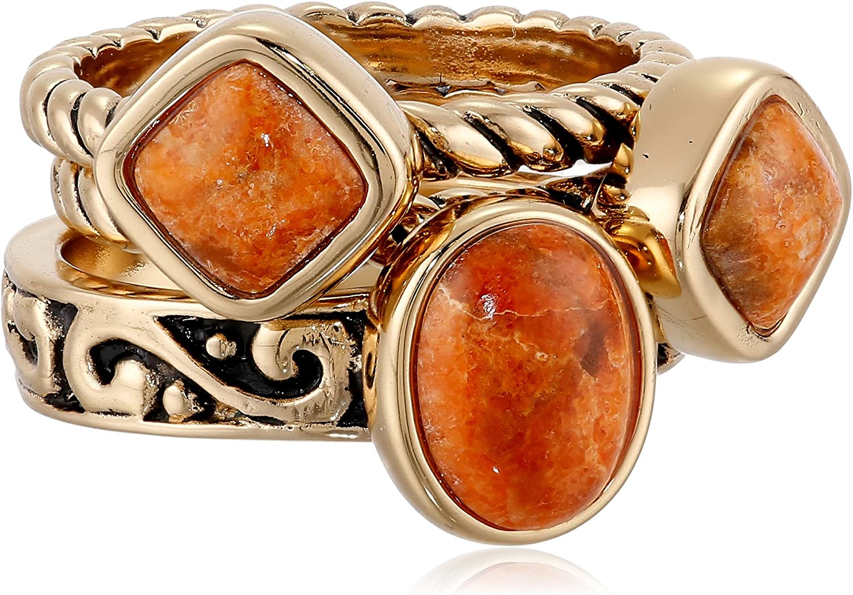 Barse Women's Sponge Coral Stack Ring GLISR06OSC (3 Piece) orange Size 6 (6)