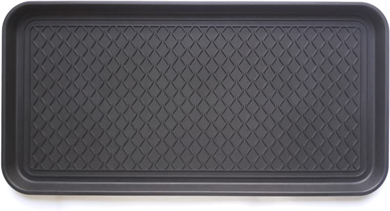 Ottomanson TRY400 30X15 Multi Purpose Indoor Outdoor Waterproof Tray 15 X 30 Black
