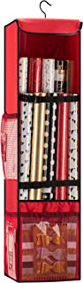 """Premium Christmas Hanging Gift Wrap Organizer, With Strap and Pockets, Stores Up To 24 Rolls 40"""" Tall, 360 Degree Hook, Holiday Wrapping Paper Storage Bag, Made of Tear Proof Fabric - 5 Year Warranty"""