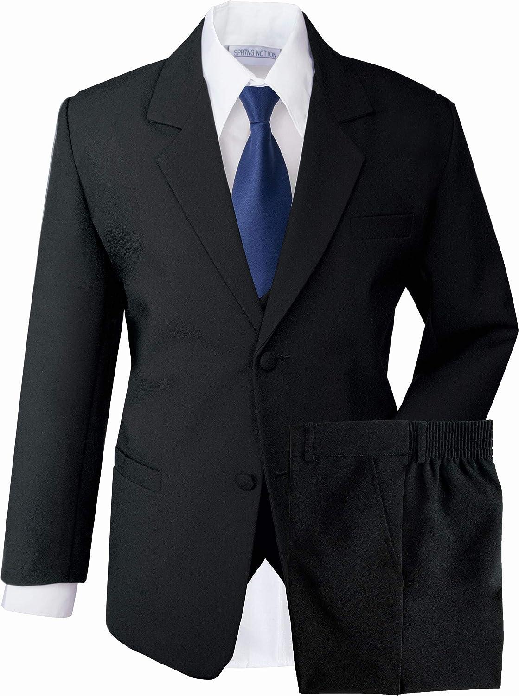 Spring Notion Boys' Formal Dress Suit Set 24M (X-Large) Black Suit Navy Tie