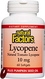 Natural Factors, Lycopene 10 mg, Antioxidant Support to Help Reduce Free Radical Damage with Pumpkin Seed, 60 softgels (60...