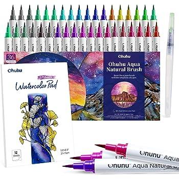 Rotuladores a base de agua de 36 colores Ohuhu, con un bloc de 12 hojas y un pincel mezclador. Rotuladores a base de agua con puntas de nylon flexibles para colorear, practicar caligrafía, dibujar