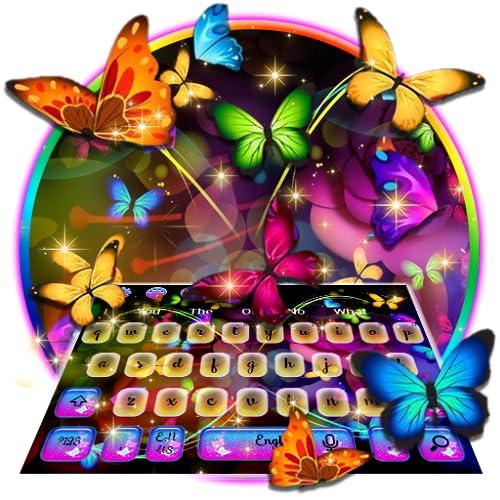Glowing Neon Butterfly Keyboard Theme