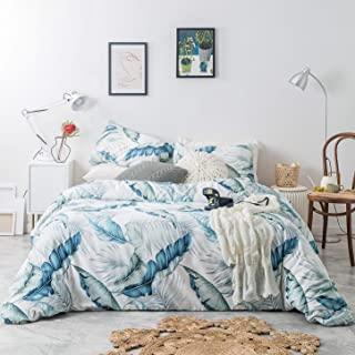 SUSYBAO 3 Piece Duvet Cover Set 100% Cotton King Size Blue Green Tropical Botanical Bedding Set with Zipper Ties 1 Banana Leaves Duvet Cover 2 Pillowcases Hotel Quality Soft Breathable Lightweight