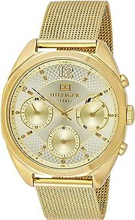 ساعة ميا للنساء من تومي هيلفيجر، بمينا ذهبية اللون وسوار من الستانلس ستيل - 1781488