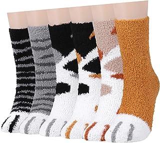 Fuzzy Socks for women 6 Pcs, Slipper Socks Warm Cozy Fluffy Socks for Girls Winter Sleeping Home