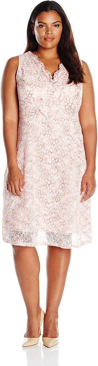 Adrianna Papell Womens Nautilus Ombre Lace Fit & Flare Dress Dress