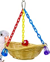 Bonka Bird Toys Small Flat Shred Basket Swing Cage Toy Cages Foraging Parrot Parakeet Cockatiel Conure Birds Rope Little Nesting Perch Aviary Pet Swings Play Gym
