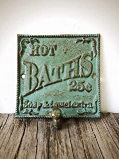 "Vintage Style ""HOT BATH"" Towel Hook Sign – Decorative Cast Iron Bathroom Organizer – Antique Green and Copper Patina"