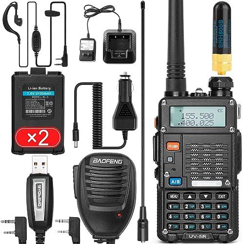 Ham Radio Walkie Talkie (UV-5R 8W) Dual Band 2-Way Radio with 2 Rechargeable 2100mAh Battery Handheld Walkie Talkies ...