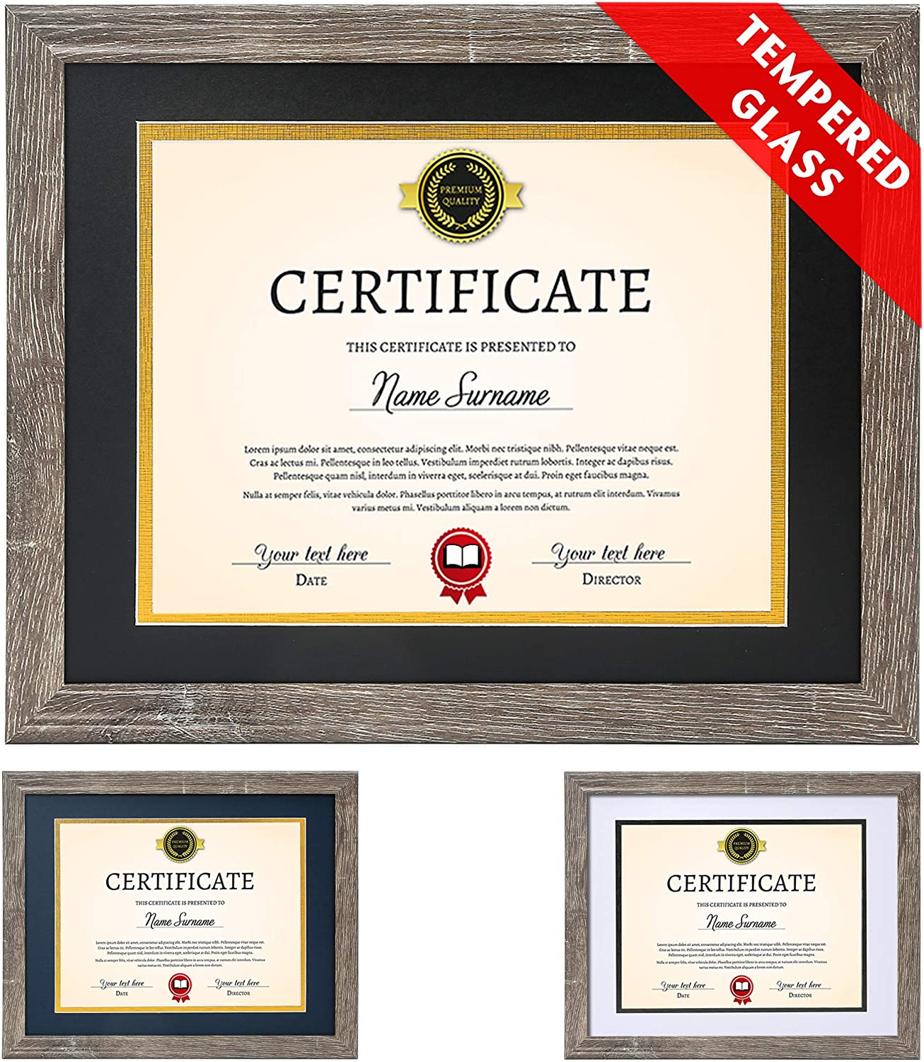 Diploma Frame Tempered Glass Safety and trust - Rare Document Mats Frames with 8.5x11