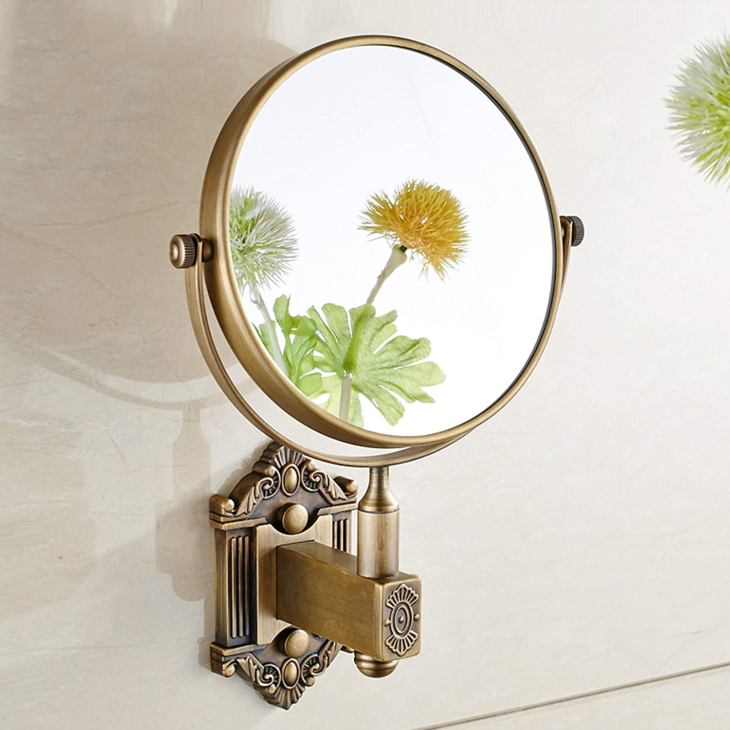 Double Sided Amplification Beauty Mirror Hotel Makeup Mirror Fold Dressing Mirror Bathroom Telescopic Mirror Wall Mount Round Mirror,6inch