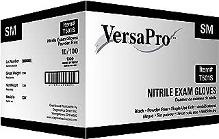 VersaPro T501S-Case Nitrile Exam Gloves, Heavy Duty, Powder Free, Small, Black (Pack of 1000)