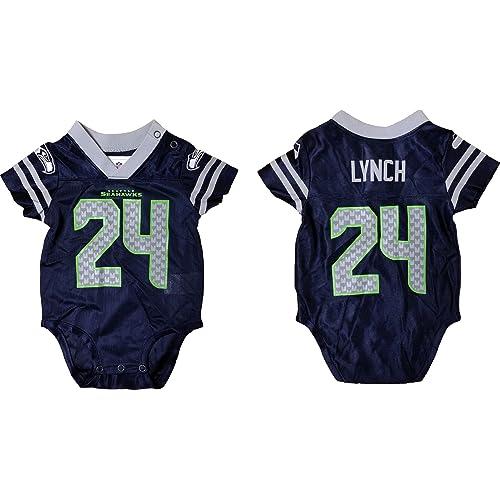 Outerstuff Marshawn Lynch Seattle Seahawks Navy Blue Player Home Creeper  Jersey Newborn a71e243ac