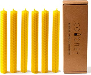 Cohoney Beeswax Taper Candles 8 Inch Tall 0.8 Inch Diameter, Decorative and Dripless, 4 Hour Burn