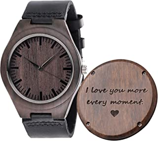 Fodiyaer Engraved Wood Watch for Men Boyfriend Husband Him As Personalized Anniversary Christmas Birthday Father Day Wooden Gifts Idea