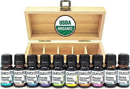 PURA D'OR Perfect 10 Essential Oil Wood Box Set 10mL USDA Organic 100% Pure Therapeutic Grade (Tea Tree-Lemon-Lavende...
