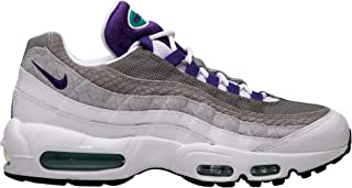 Men's Air Max 95 LV8 Casual Shoes (10.5, White/Court Purple/Emerald Green)