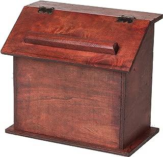 SLPR Vintage Rustic Recipe Box   Old Style Looking Wooden Podium Box