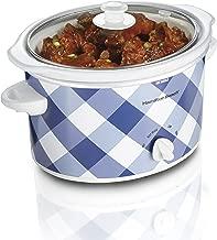 Hamilton Beach 3-Quart Slow Cooker With Dishwasher-Safe Crock & Lid, Blue Gingham (33232)