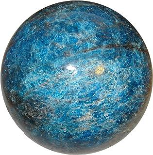 "SatinCrystals Apatite Ball 3.3 ""جمع آوری نادر جامبو آبی نادر شفاب شفا انرژی طبیعی کره C04"