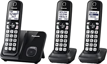 Panasonic Expandable Cordless Phone System with Call Block and High Contrast Displays and Keypads - 3 Cordless Handsets - ...