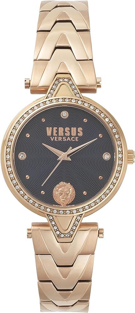 Versus versace orologio da donna  in acciaio inossidabile con placcatura ionica in oro rosa e dettagli a v VSPCI3817