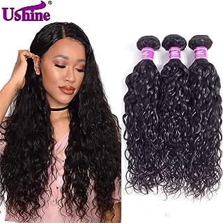 Ushine Weave Hair Human Bundles 20 18 16 inch 100% Unprocessed Brazilian Hair Bundles Wet And Wavy Human Virgin Hair 3 Bundle Deals Water Wave bundles…