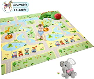 Extra Large Baby Play Mat Foldable Reversible Non Toxic Foam Crawl Playmat Waterproof Kids Baby Toddler Outdoor or Indoor Use (70.8x78x0.4in)(GreenForest+AnimalWorld)