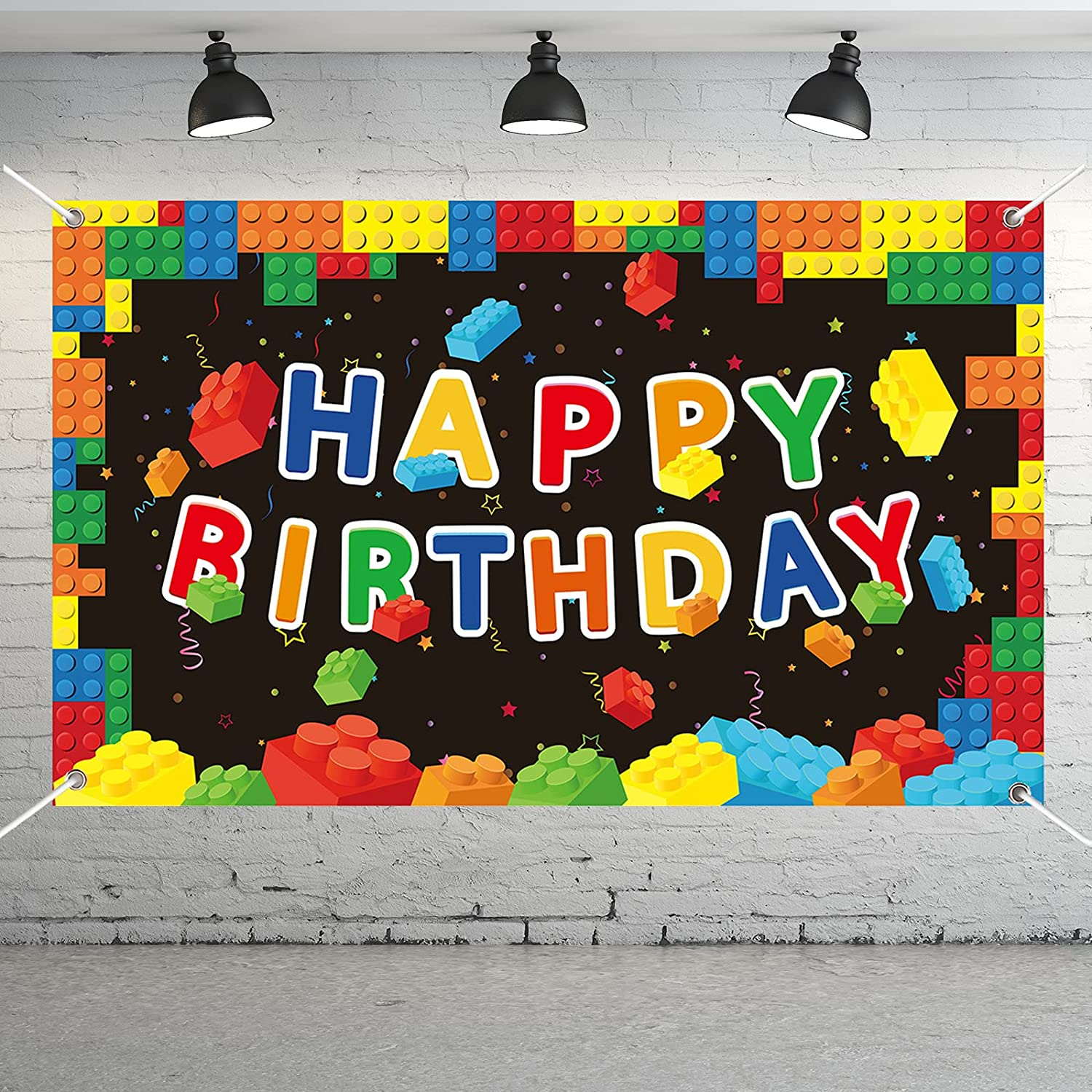 Building Blocks Party Decorations Colorful Blocks Birthday Photography Backdrop Children Kids Building Blocks Theme Party Supplies