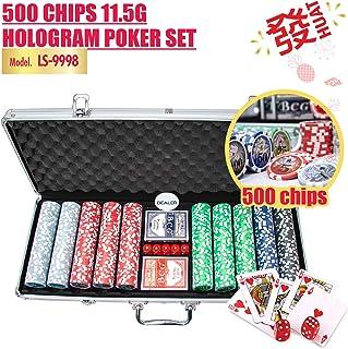 HOUZE LS-9998 500 Chips 11.5g Hologram Poker Set , Multi